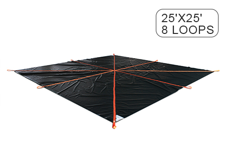 Construction Snow Removal Lifting Tarps 25' x 25' & 8 Loops - 18 Oz PVC Coated Vinyl Fabric