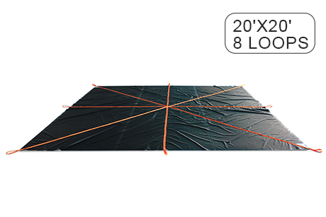 Construction Snow Removal Lifting Tarps 20' x 20' & 8 Loops - 18 Oz PVC Coated Vinyl Fabric