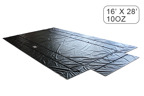 16' X 28' (4' Drop & Flap) Super Lightweight Flatbed Trailer Lumber Tarp - 10 Oz. Black Tarp